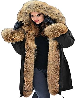 Aofur Womens Hooded Faux Fur Lined Warm Coats Parkas Anoraks Outwear Winter Long Jackets (X-Large, Black)