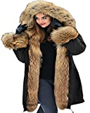 Aofur Womens Hooded Faux Fur Lined Warm Coats Parkas Anoraks Outwear Winter Long Jackets (Small, Black)