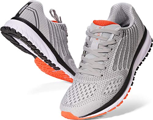 Joomra Mens Tennis Shoes Arch Support Trail Running Sneakers Gray Size 9.5 Lace Cushion Man Exercise Runner Comfortable Walking Jogging Breathable Sport Footwear 43