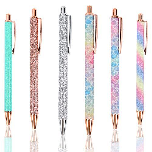 Ticarus Lote de 6 bolígrafos con purpurina, color oro rosa, metálicos, retráctiles, con purpurina, color negro