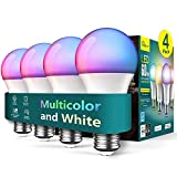 Alexa Smart Light Bulbs 4 Pack, Treatlife 2.4GHz Music Sync Color Changing Light Bulb, Works with Google Home, A19 E26 Dimmable LED Light Bulb 9W 800 Lumen for Party Decoration, Smart Home Lighting