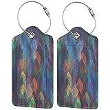 FULIYA - Juego de 2 etiquetas de cuero de gama alta para maletas, identificador de viaje para bolsos y equipaje, para hombres y mujeres, superficie, línea, forma