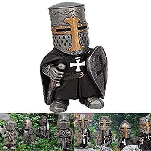 Caballero Gnomos Guardia, traje alto de armadura miniatura de caballeros europeos escultura decoración, cruz templaria cruzada figura hace tu jardín más (Teensylot)