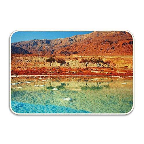 luhangshangmao Dead Sea Salt Shore In Israel Mountains Desert Scenic Photo Doormat,Soft Flannel Home Entrance Door Mat,Indoor Decorative Carpets Ch 16x24(IN)