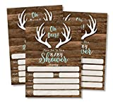 All Ewired Up 50 Oh Deer Invitations and Envelopes (Large Size 5x7) - Baby Shower (50 count) Hunting, Camping, Camo, Buck, Rustic, Neutral, Woodland Baby Shower Invites for Boy