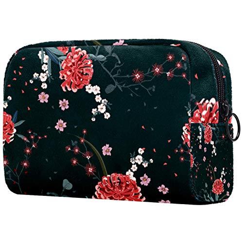 KAMEARI Bolsa de cosméticos Flor Florales Grande Organizador de cosméticos Bolsas de viaje multifuncionales