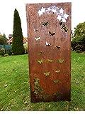 Irony24 Edelrost Sichtschutz 150 x 65 cm Schmetterling inkl. Bodenanker