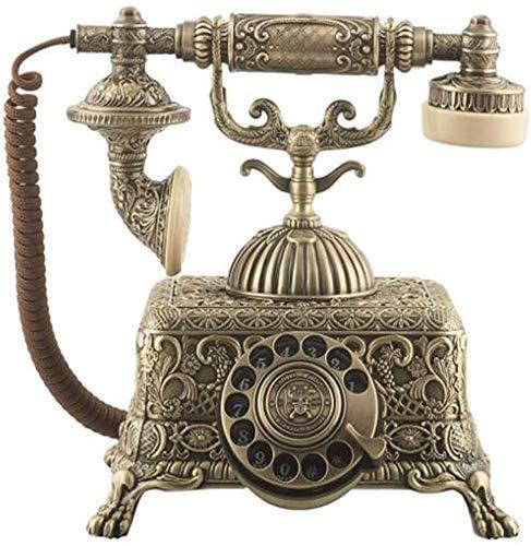 SXRDZ Teléfono Retro, Dial Rotary Metal Landline Europeo Moda Hogar Antigua Teléfono Móvil Fijo