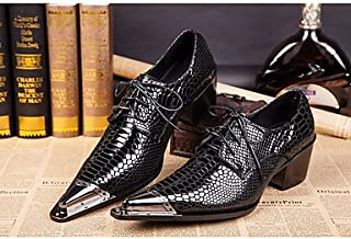 CLG-FLY Men's Shoes Real Leather All Season Formal Shoes Novelty Oxfords Rivet Buckle For Wedding Party & Evening Black