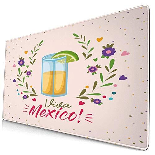 Extra große Gaming-Mauspad Bild von Schnapsglas mit Viva Mexico-Schriftzug und hübschen Blumenzweigen Artsy Professional Schreibtischmatten Tastatur Mousepad Tischmatte