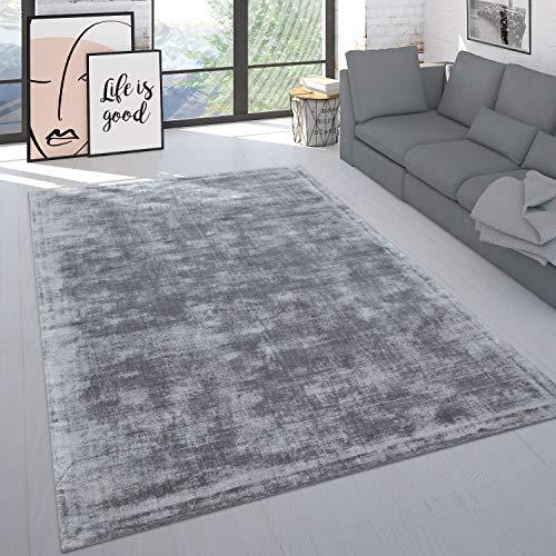 Paco Home Teppich Handgefertigt Hochwertig Einfarbig Kurzflor Modern Materialmix In Grau, Grösse:160x230 cm
