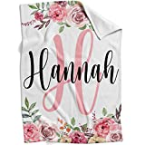 Personalized Baby Blanket with Name for Girls, Customized Floral Baby Blanket for Newborns, Infants and Toddlers, Custom Kids Blanket (Pink Roses, 30' x 40')