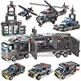 City Police, City Police Station Building Kit, 8 in 1 City Police Mobile Command Center Building Bricks Toy with Cop Car, Patrol Vehicles & Water Plane for Kids Boys Girls 6-12 (1102 Pieces)