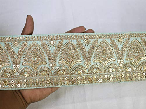 Wholesale Sequins Embroidered Laces Saree Border Fabric Trim by 9 Yard Mint Green Gold Sari Crafting Beach Bags Curtains Trimmings Wedding Sari Ribbon Crafting Sewing Costume Accessories