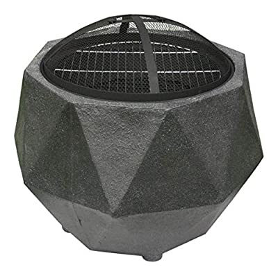 Rammento Outdoor Fire Pit Bowl & BBQ Grill Hexagon Shaped Patio Fire LARGE Outdoor Fire Pit 64.5cm Granite Texture Dark Grey 48.5cm Height from Rammento