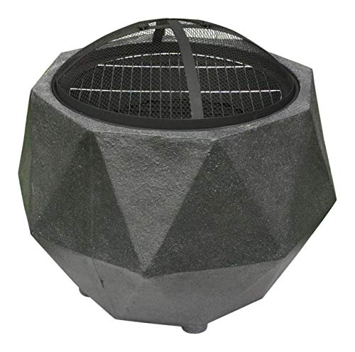 Rammento Outdoor Fire Pit Bowl & BBQ Grill Hexagon Shaped Patio Fire LARGE Outdoor Fire Pit 64.5cm Granite Texture Dark Grey 48.5cm Height