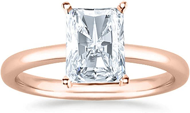 Solid 14K White Gold Finish 3Ct Radiant Cut Diamond Solitaire Engagement Ring