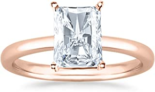 1 Ct Radiant Cut Solitaire Diamond Engagement Ring 14K White Gold (K Color SI1 Clarity)