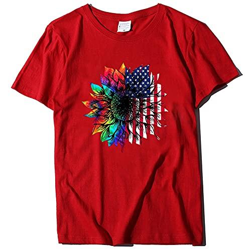SLYZ Damas Europeas Y Americanas Impresas Camiseta Casual De Manga Corta Blusa De Todo Fósforo Multicolor De Manga Corta para Damas De Verano