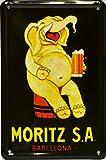 ART ESCUDELLERS Imán Cartel Poster publicitario de Chapa metálica con diseño Retro Vintage de Catalunya/España. Tin Sign. 11 cm x 7,3 cm (Elefante Moritz)