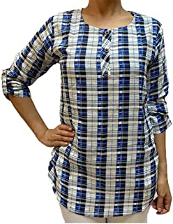 Veronica Long Sleeve Ladies Blouse Checkered blue