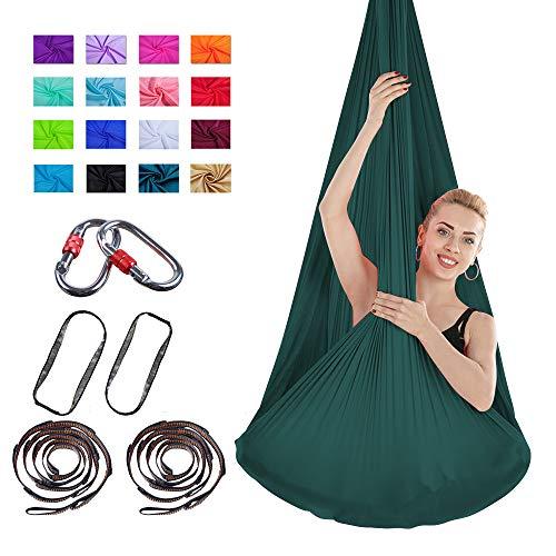 Viktion Authentische 4 * 2.8m Aerial Yoga Fitness Tuch Set Anti Gravity Yoga Swing Aerial Yogatuch Hängematte (Dunkel Grün)