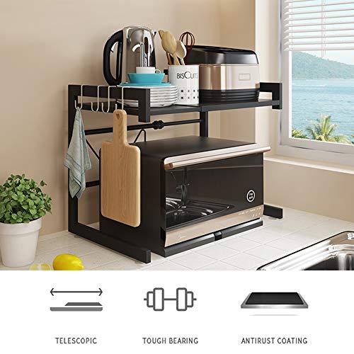 XXLLQ Küchenregal Mikrowellenhalter Standregal Haushaltsregal,Ofen Mikrowelle Rack, Länge kann gedehnt Werden,Kann 50kg Gegenstände halten mit 4 hängenden Haken,für Küche Wohnzimmer Büro