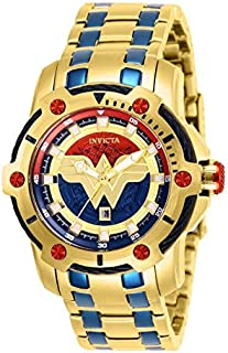 Invicta DC Comics Limited Edition Wonder Woman Quartz 39.5 MM Gold Case Blue Dial - Women's Watch Model 26839