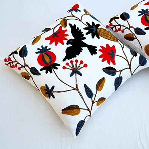 HomeDecorShopieSuzani Bird Funda de cojín Floral 16 x 16 Bordado Decorativo Funda de Almohada de algodón