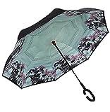 Paraguas invertido de doble capa independiente que se mantiene en pie por sí solo, paraguas de plegado invertido con mango en forma de C para mantener