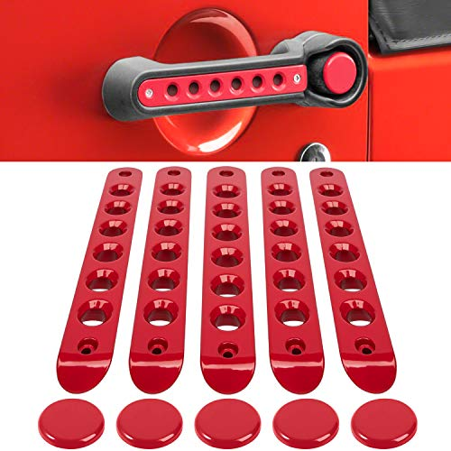 Grab Handle Inserts Cover+Push Button Knobs Cover Trim for Jeep Wrangler JK JKU Sahara Rubicon Unlimited 2007-2018 Exterior Door Handle Decoration Accessories Aluminum (Red)
