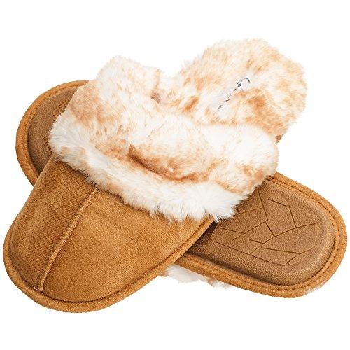 Jessica Simpson Comfy Faux Fur Womens House Slipper Scuff Memory Foam Slip On Anti-Skid Sole (Size Large, Tan)