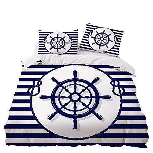 GD-SJK Bedding Sets for Children, Bed Linen 220 x 240 cm – Bedding Dark Blue, Cotton, 3 Pieces with Zip, Bedding Navy Blue, Bed Linen Marine Aquarium, 220 x 240 cm, A04