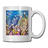 Funny Ceramic Novelty Coffee Mug 11oz,Egyptian Red Sea Bottom View with Marine Creatures Top of Tribal Ocean Scuba Image,Unisex Who Tea Mugs Coffee Cups,Suitable for Office and Home