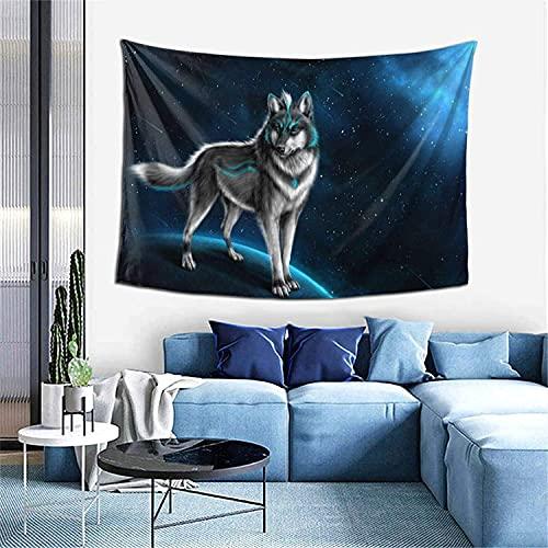 Tapiz de lobo de fantasía Tapiz para colgar en la pared Decoración del hogar Cortina de puerta...