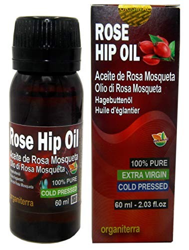 Aceite Rosa Mosqueta 100% Puro 60ml Origen Patagonia Chile - Envasado en UE, Primera Prensada en Frío, Virgen Extra -Color naranja brillante- Producción Manual + 100% Natural