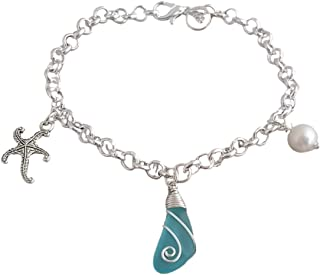 product image for Handmade in Hawaii, wire wrapped blue sea glass bracelet, starfish charm, Freshwater pearl, (Hawaii Gift Wrapped, Customizable Gift Message)
