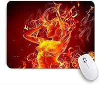 PATINISAマウスパッド 火のセクシーなヌードの女の子の炎の燃焼創造的なクールな美しさ赤オレンジ ゲーミング オフィ良い 滑り止めゴム底 ゲーミングなど適用 マウス 用ノートブックコンピュータマウスマット