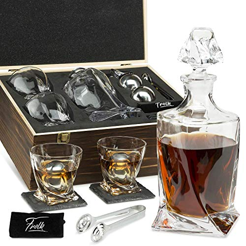 Whiskey Stones Gift Set for Men & Women - Whiskey Decanter, 2 Twisted Whiskey Glasses, 2 XL Stainless Steel Whisky Balls, 2 Coasters, Special Tongs & Freezer Pouch in Pinewood Box