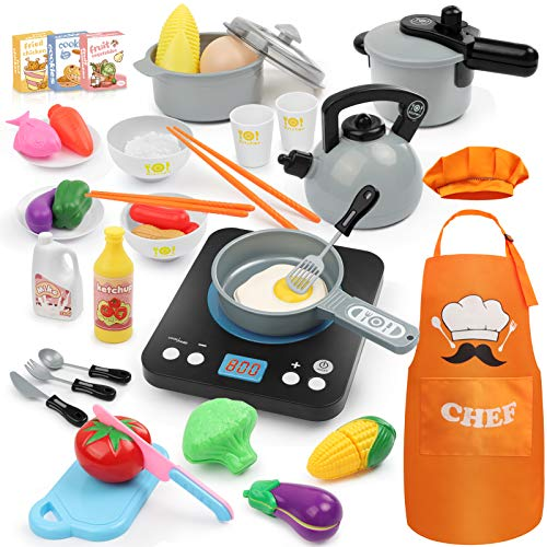 Hapgo 44Pcs Pretend Play Kitchen Toys Set with Electronic Induction Cooktop Cookware Pots and Pans Set, Cooking Utensils, Cut Play Food, Apron & Chef Hat Learning Gift for Kids Girls Boys (Gray)
