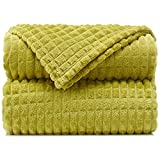 """Throw Blankets – 60""""x80"""", Twin Size, Olive Green - Lightweight Flannel Fleece - Soft, Cozy - Perfect for Bed, Sofa, Couch"""
