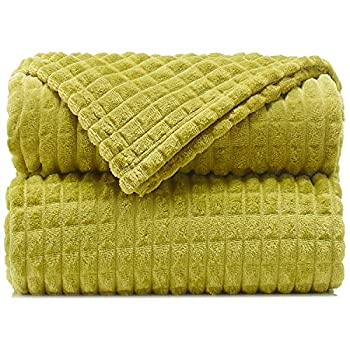 """Throw Blankets – 50""""x60"""" Olive Green - Lightweight Flannel Fleece - Soft Cozy - Perfect for Bed Sofa Couch"""