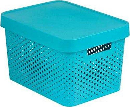 CURVER 04742-X34-00 Boîte à Rangement Infinity Points avec Couvercle 17L en Bleu, Plastique, 36,3x27x22,2 cm