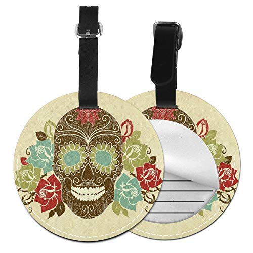 Round Travel Luggage Tags,Skull and Roses Colorful Vintage Composition with Smiling Gothic Face Artistic,Leather Baggage Tag