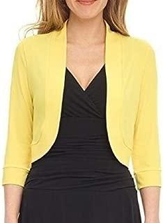 FSSE Women's 3/4 Sleeve Open Front Plus Size Solid Bolero Cardigan Crop Jacket