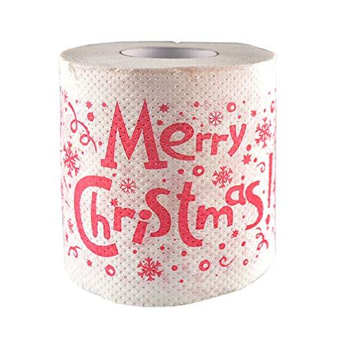 IMIKEYA Rollo de Papel Higienico de 2 Capas Feliz Navidad Merry Christmas Decoración para Cena Navidad Nochebuena...