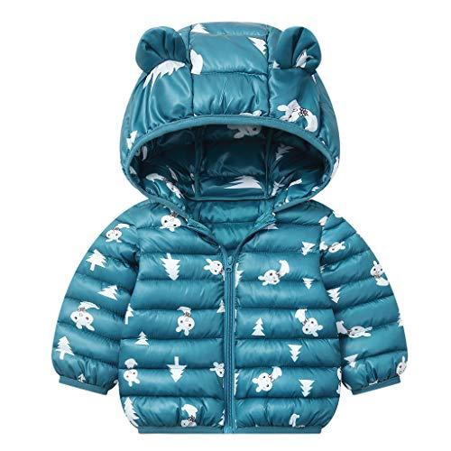 JiAmy Bebés Abrigos de Invierno Chaqueta Ligera para Niños con Encapuchado Bebé Niños Niñas Ropa de Calle Verde Oscuro 6-12 Meses