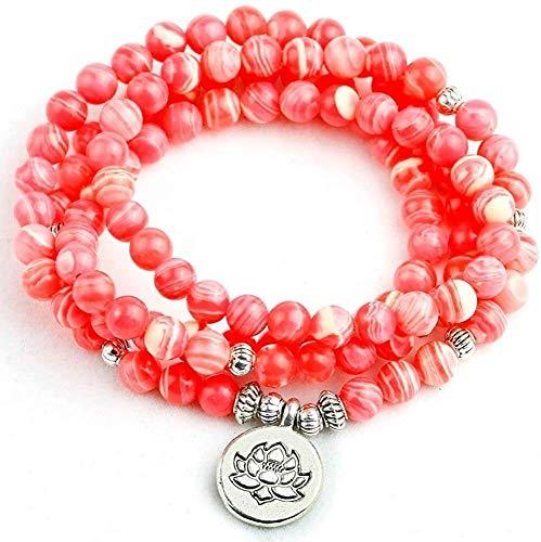 gujiu Wowwee Lucky Fortune Armbänder Mode Halskette Stein 6mm Perlen Armbänder Lotus Anhänger Frauen Männer Party Femme Yoga Charme Zubehör