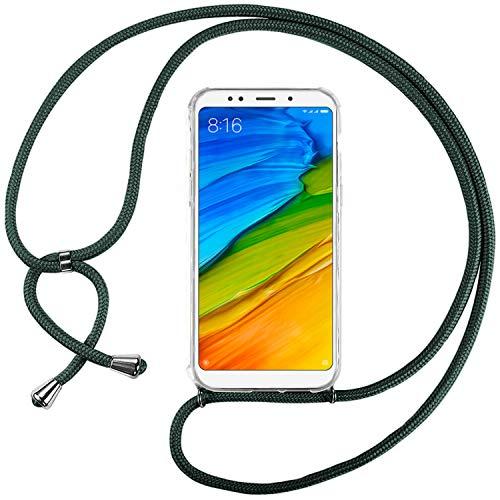Ingen Funda con Cuerda para Xiaomi Redmi 5 Plus - Carcasa Transparente TPU Suave Silicona Case con Colgante - Verde Oscuro