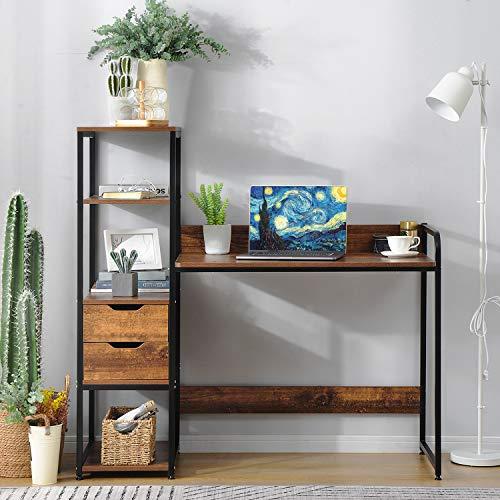 ModernLuxe Vintage Schreibtisch mit Bücherregal Schubladen Bürotisch Laptoptisch PC Tisch Holzoptik kombiniert mit Schwarz Metallrahme für Home Office Büro, Braun
